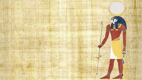 Египетский бог луны Khonsu на предпосылке папируса сток-видео