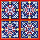 Египетский красный цвет и синь картины ткани шатра Стоковая Фотография