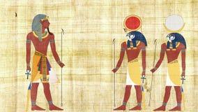 Египетский фараон с Ра и Khonsu видеоматериал