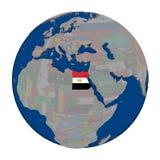 Египет на политическом глобусе Стоковая Фотография RF