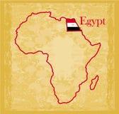 Египет на фактической винтажной политической карте Африки Стоковые Фото