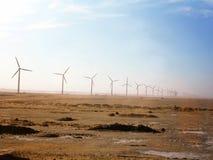 Египет, Северная Африка, поле с ветротурбинами Стоковая Фотография