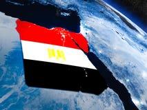 Египет с врезанным флагом от космоса Стоковые Фото