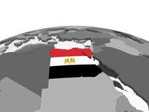 Египет с флагом на глобусе иллюстрация штока