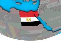 Египет с флагом на глобусе иллюстрация вектора