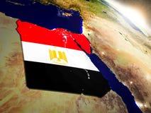 Египет с флагом в восходящем солнце Стоковая Фотография