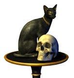 египтянин кота закрепляя включает статую черепа путя Стоковая Фотография