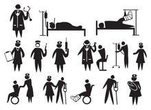 легко редактируйте комплект изображения иконы медицинского соревнования медицинский для того чтобы vector Стоковое Изображение RF