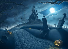 легко редактируйте ночу изображения halloween для того чтобы vector Стоковые Изображения RF