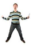 его yells человека раскрытые ртом Стоковые Изображения RF