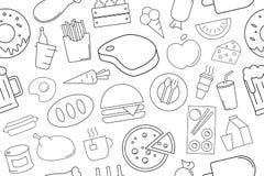 Еда вектора и картина питья Еда и предпосылка питья безшовная иллюстрация штока