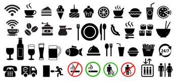 Еда вектора и набор значков напитка бесплатная иллюстрация