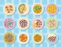 Еда вектора каши здоровая для завтрака и овсяной каши с ягодами в шаре для вегетарианского комплекта иллюстрации диеты  бесплатная иллюстрация