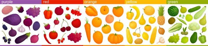 Еда вектора красочная Соединяют овощи и плоды в группах согласно цвету иллюстрация штока