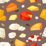 Еда вектора сыра притворная и молочные продучты с cheeseparing комплектом иллюстрации швейцарских моццареллы или чеддера закуски иллюстрация штока