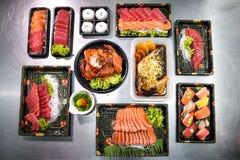 Еда взгляд сверху смешанная японская Стоковые Фотографии RF