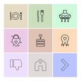 еда, вилка, ложка, нож, плита, значок, торт, дом, disl иллюстрация вектора
