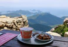 Еда горы на вилле горы Geumsan около виска Boriam в графстве Namhae стоковые фото