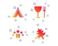 Еда, гостиница, располагаясь лагерем шатер и знаки дерева r иллюстрация вектора