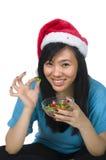 еда девушки santa Стоковое Фото