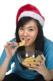 еда девушки santa Стоковые Изображения