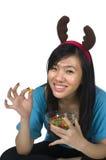 еда девушки santa Стоковые Фото