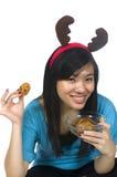 еда девушки santa Стоковое Изображение