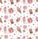 Еда десерта и выпить безшовную картину в иллюстрации вектора стиля doodle kawaii иллюстрация вектора