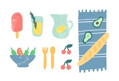 Еда для иллюстрации вектора пикника Doodle мороженое, лимонад, одеяло, багет, салат, вишни, авокадо, вилка и ложка иллюстрация вектора