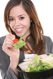 еда женщины салата Стоковая Фотография