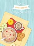 Еда завтрака энергии, хлебопекарня, питье, плодоовощ Каша овсяной каши с ягодами, печеньями шоколада, кофе, яблоком, кусками ябло Стоковые Фото