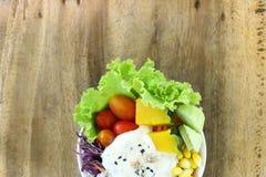 Еда здоровых и диеты, салат свежего овоща с салатом сливк тунца в белом шаре на деревянной предпосылке таблицы Стоковое фото RF