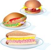 еда из закусочных Иллюстрация штока