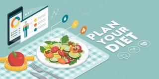 Еда и диета app иллюстрация вектора