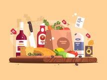 Еда и ингридиенты для варить иллюстрация штока