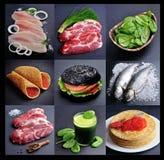Еда коллажа здоровая на черных предпосылках стоковые фотографии rf