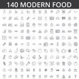 Еда, мясо, овощ, плодоовощ, жареная курица, свежая рыба, еда, органическая диета, улица, есть, гастрономия, кулинарная линия иллюстрация вектора
