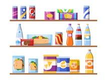 Еда напитка на полках Печенья и вода закусок фаст-фуда стоя на концепции мерчандайзинга вектора витрины плоско бесплатная иллюстрация