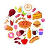Еда на белой предпосылке бесплатная иллюстрация