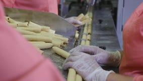Еда пакета работника - печенья в контейнеры, пакеты Розничные торговцы и распределение бакалеи сток-видео