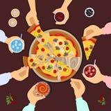 еда пиццы друзей иллюстрация штока