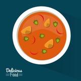 Еда плаката очень вкусная в синей предпосылке с блюдом супа с овощами иллюстрация вектора