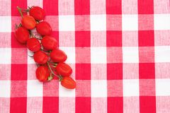 еда предпосылки здоровая Взгляд сверху свежих красных томатов вишни на красных checkered салфетке или полотенце место для вашего  стоковые изображения