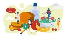 еда принципиальной схемы здоровая Идея меню для диеты иллюстрация вектора
