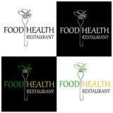 Еда ресторана здоровая Значок и ярлык для restaura меню дизайна Иллюстрация вектора