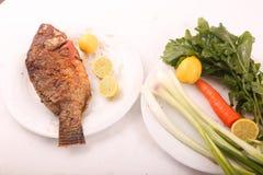 Еда рыб с концом салата вверх Стоковая Фотография RF