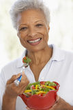 еда свежей женщины старшия зеленого салата стоковое изображение rf
