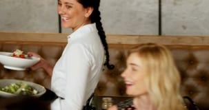 Еда сервировки официантки к друзьям собирает 4K 4k сток-видео