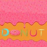 Еда сиропа лить от розового донута Стоковая Фотография RF