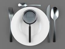 Еда с лупой бесплатная иллюстрация